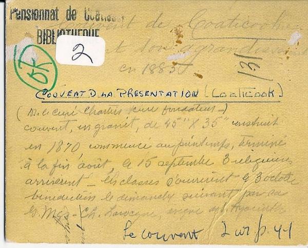 Verso de la carte postale du Couvent de la Présentation en 1870