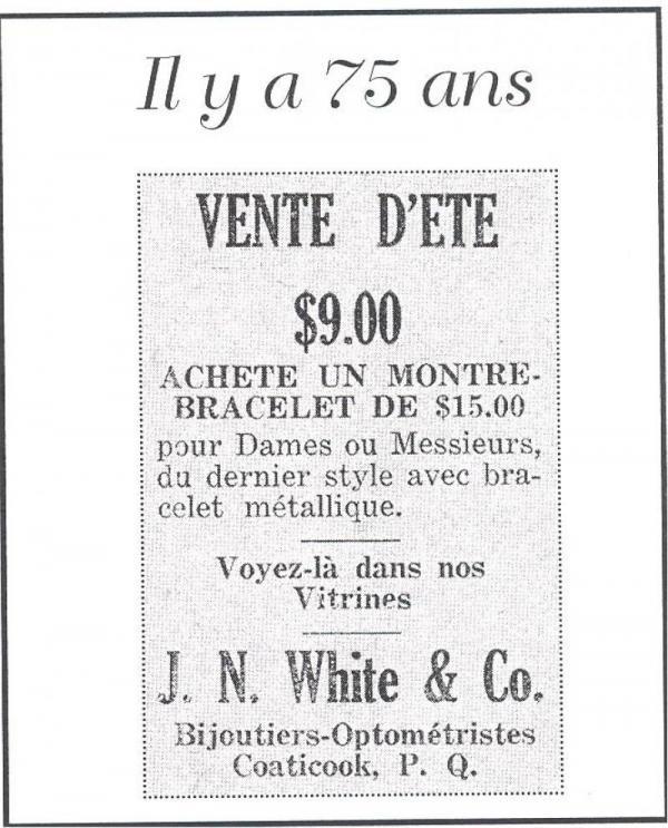 Publicité Vente d'été. J.N. White & Co, optométristes