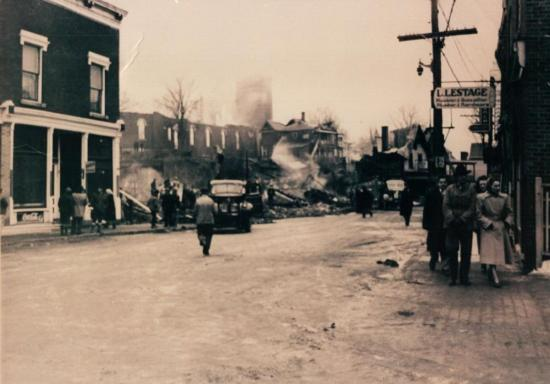 Damage from the fire on the street Child January 16, 1949