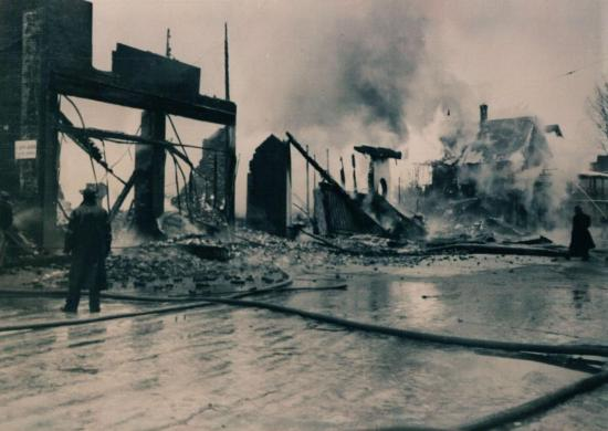 Child street devastated by fire January 16, 1949