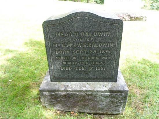L'un des fils de W.K., Mead Haskell Baldwin servit près de deux ans dans la Première Guerre Mondiale.  Il mourut le 17 février 1921 à l'âge de 30 ans, à la suite de ses blessures de guerre.