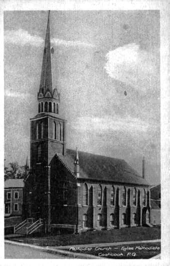 The first one Methodist Church of Coaticook. Construite en 1874 et sera la proie des flammes le 20 mars 1923. Elle dessert la communauté méthodiste. Cette église est construite en raison de l'accroissement de la communauté et prend place sur la rue Wellington juste au coté de la première église, en bois, construite le 23 décembre 1855. La première église sera vendu en 1881 et déplacée sur la rue Child.