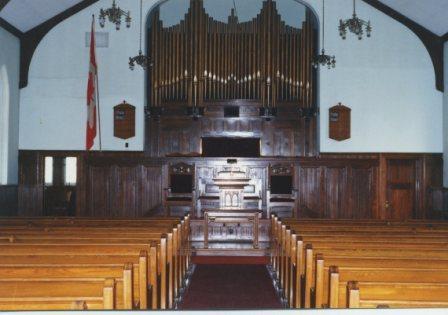 intérieur église Sisco de Coaticook Cet église devenue le Pavillon des arts et de la culture de Coaticook. Les tuyaux de l'orgue sont demeurés à titre décoratif en respect au patrimoine.