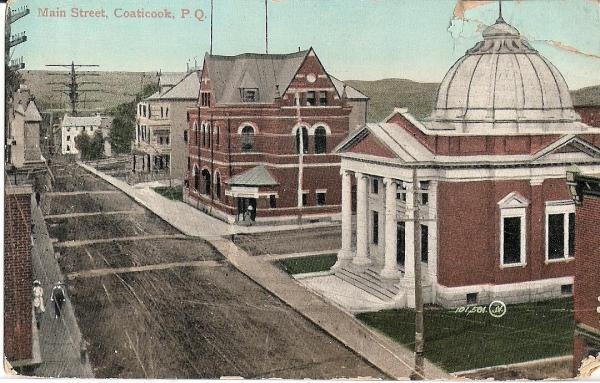 Postcard of the Eastern Townships Bank and Post Office