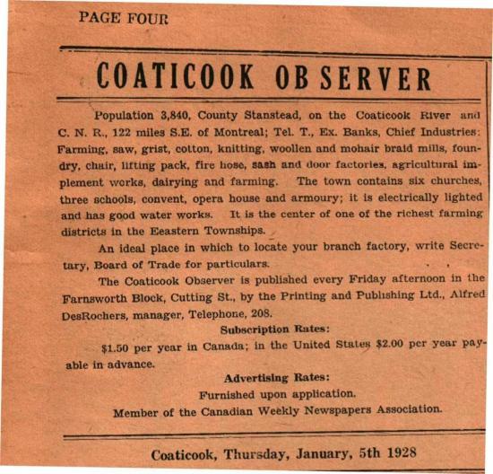 Article du Coaticook Observer, le journal a été mis sur pied, en autres, par Alfred Desrochers, le père de Clémence Desrochers, comédienne et humoriste.