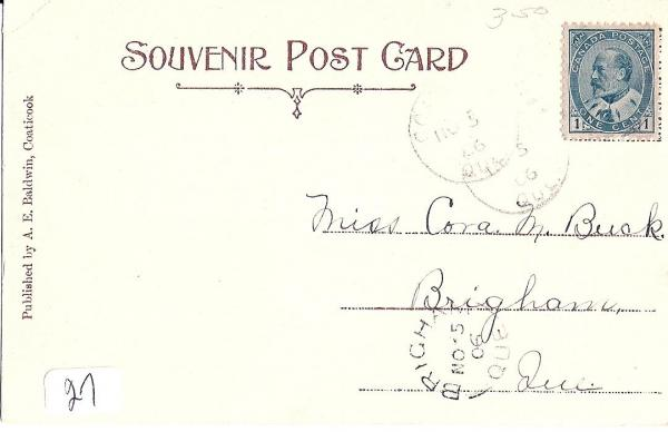 Back of the postcard from the post office before the turn of Coaticook and the clock.
