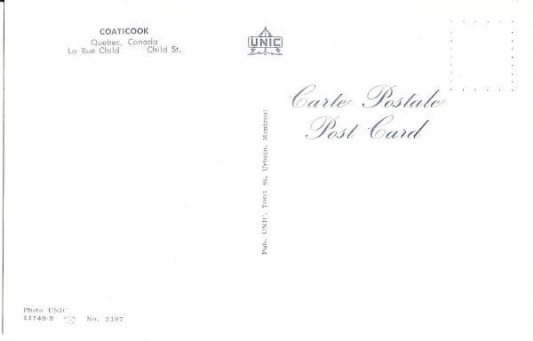 Verso de la carte  postale illustrant l'hôtel Child dans les années 1960.   Pub. Unic 7001 St. Urbain, Montreal