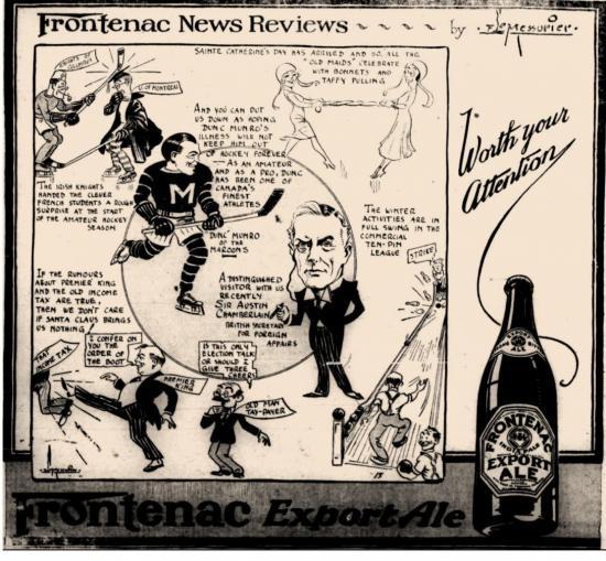 Publicité de la bière Frontenac
