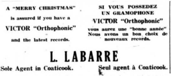 Publicité du magasin Labarre à l'occasion de Noel