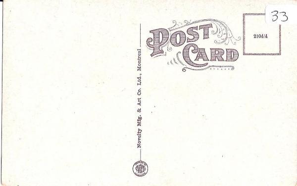 Verso de la carte postale de Coaticook House  Novelty Mfg. & Art Co. Ltd, Montreal