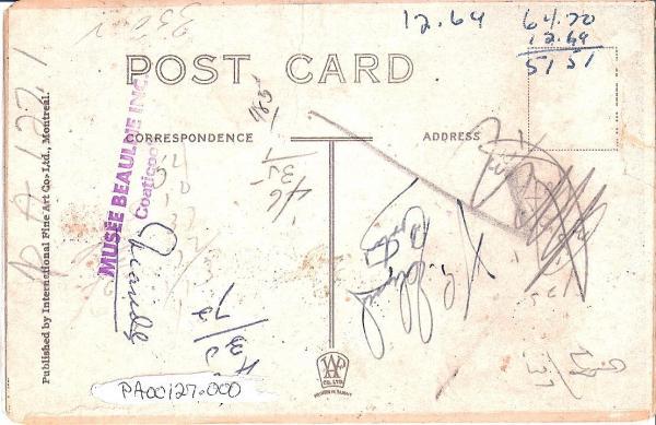 Verso de la carte postale de l'hôtel Torndyke.  Published by International Fine Art Co. Ltd, Montreal
