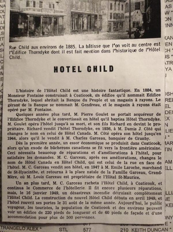 Petite histoire de l'hôtel Child recueilli dans un article