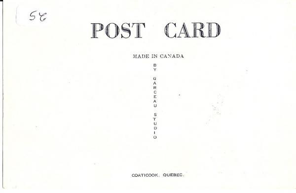Verso de la carte postale illustrant l'hôtel Corona  By Garceau Studio   Coaticook  Quebec