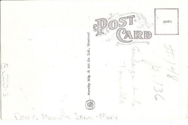 Verso de la carte postale du bureau municipale de Barford qui est devenu l' Americain hôtel.   Novelty Mfg. & Art Co. Ltd., Montreal