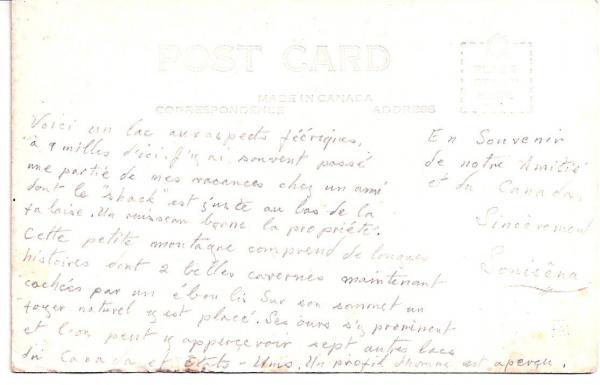 Verso de la carte postale illustrant le lac Lyster.