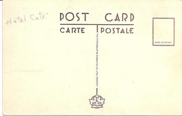 Verso de la carte postale de l'hôtel Lyster