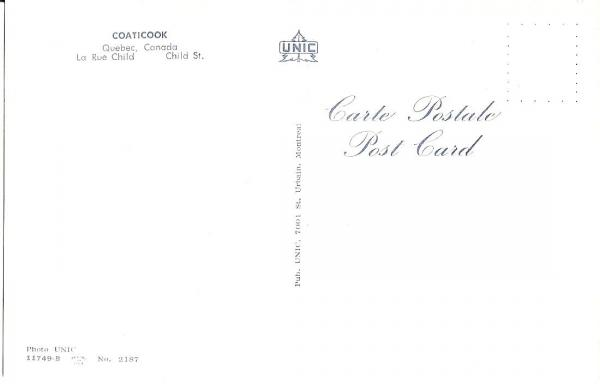 Verso  de la carte postale illustrant la rue Child avec l'affiche de l'hôtel Child.