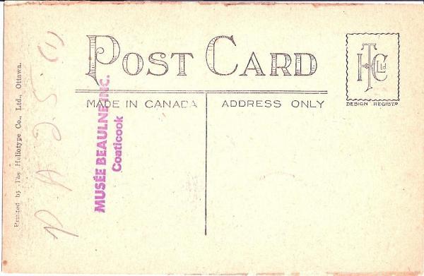 Verso de la carte postale de la rue Child à l'époque des rues de terre et trottoir en bois.  The Heliotype Co., Ltd., Ottawa